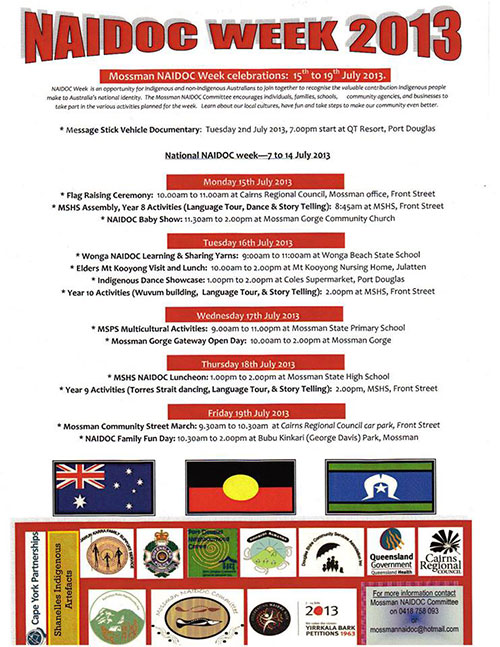NAIDOC week Celebrations Mossman 15th – 19th July